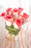 Bouquet of pink roses in vase Stock Images