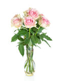 Bouquet of pink roses in a vase Royalty Free Stock Photos