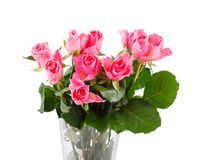 Bouquet of pink roses in vase. Isolated over white background Royalty Free Stock Photography