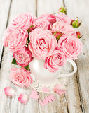 Bouquet of pink roses in a vase Stock Photography