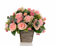Bouquet of pink roses in a vase on white background. Bouquet of pink roses in a vase isolate on white background royalty free stock photo