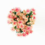 Bouquet of pink roses on a white background Stock Photo