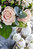 Bouquet of pink roses and white gerbera flowers Royalty Free Stock Images