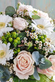 Bouquet of pink roses and white gerbera flowers Royalty Free Stock Image