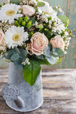 Bouquet of pink roses and white gerbera flowers Stock Images