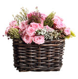 Bouquet of pink roses in wicker basket Royalty Free Stock Photos