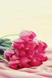 Bouquet of pink tulips. Big beautiful bouquet of pink tulips, tinted Stock Images