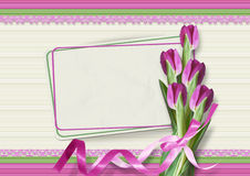 Bouquet of pink tulips with a card Stock Image