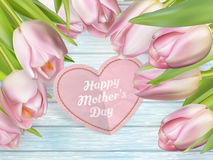 Bouquet of pink tulips. EPS 10 stock photography