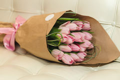 Bouquet of pink tulips. Flower bouquet of pink tulips on pastel background Stock Photography
