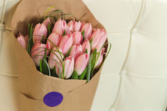 Bouquet of pink tulips. Flower bouquet of pink tulips on pastel background Royalty Free Stock Images