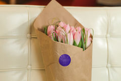 Bouquet of pink tulips. Flower bouquet of pink tulips on pastel background Stock Images
