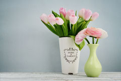 Bouquet of pink tulips and ranunculus Royalty Free Stock Images