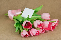 A bouquet of pink tulips with satin ribbon and postcard Stock Photo