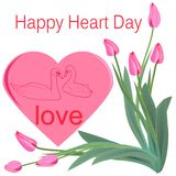 Bouquet of pink tulips and a silhouette of swans on the background of a big heart stock illustration