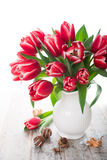 Bouquet of pink tulips in vase on the white background Stock Images