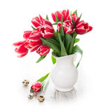 Bouquet of pink tulips in vase on the white background Royalty Free Stock Image