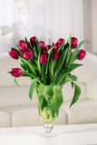 Bouquet of pink tulips on a white background. Bouquet of pink tulips in an interior on a white background Stock Photo