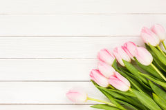 Bouquet of pink tulips on white wooden background Stock Image