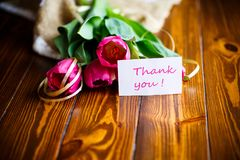 Bouquet of pink tulips Royalty Free Stock Images
