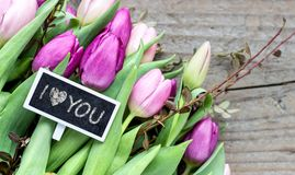 Tulip bouquet with declaration of love. Bouquet with pink and violet tulips and small blackboard with the text: I love you Royalty Free Stock Images