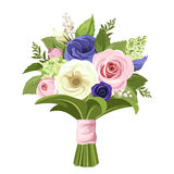 Bouquet of pink, white and blue flowers. Vector illustration. Stock Photography