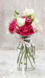 Bouquet of pink and white eustoma flowers Stock Photos