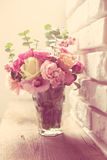 Bouquet of pink and white roses Stock Image