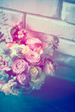 Bouquet of pink and white roses Stock Photos