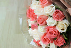 Bouquet pink and white roses  flower Stock Photo