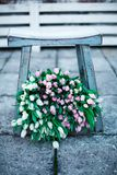 Bouquet of pink and white tulips royalty free stock photo