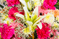 Bouquet. Pink and yellow flowers of bouquet Royalty Free Stock Photography