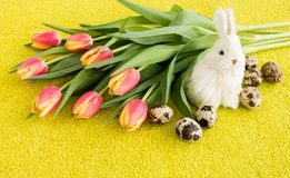 Bouquet of Tulips with Easter Bunny and Easter Eggs royalty free stock photo