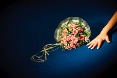 Bouquet on the pool table Stock Photo