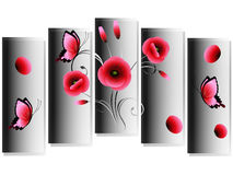Bouquet of poppies, modern design. Royalty Free Stock Photography