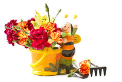 Bouquet in a pot with bee Royalty Free Stock Images