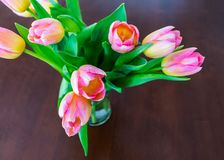 A bouquet of pretty pink tulips in a vase on dark wood table royalty free stock photography
