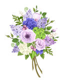 Bouquet of purple, blue, white and green flowers. Vector illustration. Stock Image