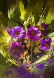 Bouquet of purple flowers. Digital painting showing bouquet of purple flowers Stock Photo