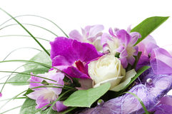 Bouquet of purple orchid and white rose Royalty Free Stock Photos