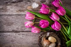 Bouquet of purple tulips with a nest with eggs on a wooden background Royalty Free Stock Photos