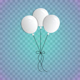 A bouquet of realistic balloons on a blue transparent background. Three white balloons on the ropes. Royalty Free Stock Photography