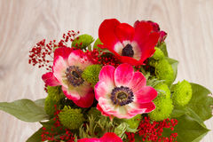 Bouquet of  red anemone flowers close up Stock Photo