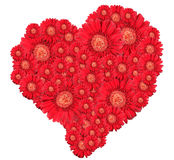 Bouquet of red flowers as heart-form royalty free stock photography