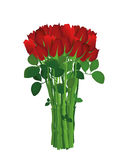 Bouquet of red flowers. Roses. Greeting card for Valentine`s Day Royalty Free Stock Image