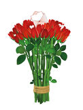 Bouquet of red flowers. Roses tied with a rope with envelope. And blank and hearts. Empty space for your ad or inscriptions or messages. Postcard on Valentine`s stock illustration