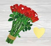 Bouquet of red flowers. Yellow sheet of paper for notes. Sticker heart shaped. Empty space for your ad or inscriptions or messages. Hand-drawn christmas tree and royalty free illustration