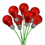 Bouquet of red light bulbs on green wires Royalty Free Stock Image