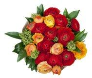 Bouquet of red and orange Ranunkulyus Stock Images
