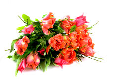 Bouquet red and orange tulips Royalty Free Stock Images